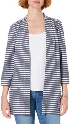Karen Scott Striped Open-Front Cotton Blend Cardigan