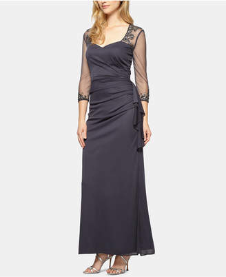 Alex Evenings Illusion-Sleeve A-Line Gown