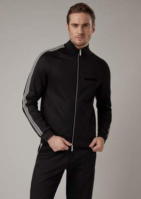 Giorgio Armani Full Zip Sweatshirt In Double Jersey With Chevron Stripe On The Sleeves