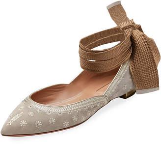 Aquazzura Bliss Ankle-Wrap Ballet Flats