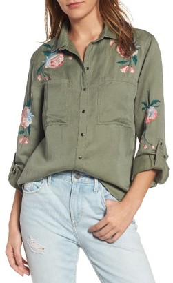 Women's Rails Channing Embroidered Military Shirt $188 thestylecure.com