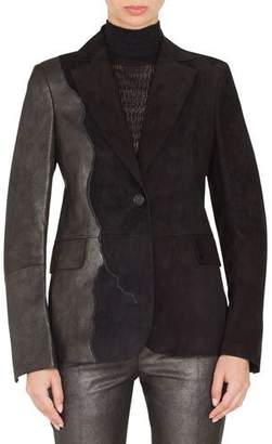 Akris Seth One-Button Suede Patchwork Leather Jacket