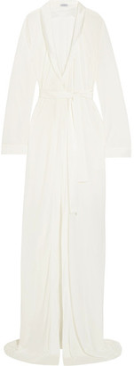 Airy Blooms Satin-trimmed Modal Robe - White