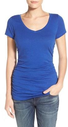 Petite Women's Caslon Shirred V-Neck Tee $17.40 thestylecure.com