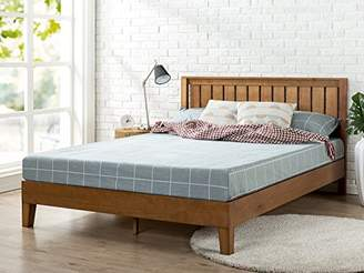 Zinus 12 Inch Deluxe Wood Platform Bed with Headboard/No Box Spring Needed/Wood Slat Support/Rustic Pine Finish