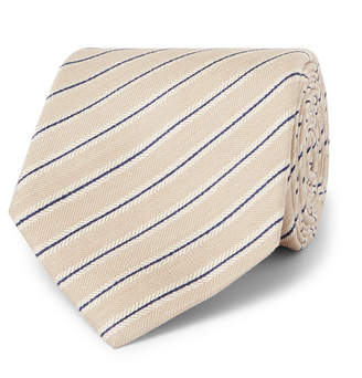 Brioni 8cm Striped Silk and Linen-Blend Tie - Men - Beige