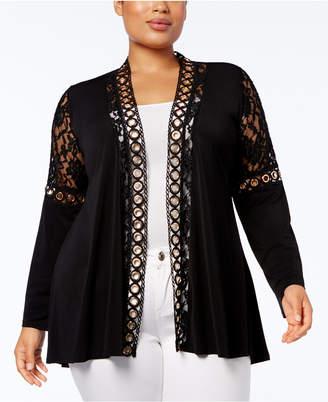 Belldini Plus Size Lace-Trim Cardigan 9dfec2841