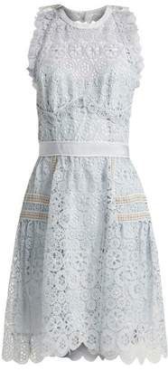 Self-Portrait Self Portrait Floral Lace Halterneck Minid Ress - Womens - Light Blue