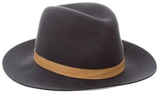Janessa Leone Leather-Trimmed Wool Hat $95 thestylecure.com