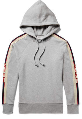 Gucci Oversized Webbing-Trimmed Loopback Cotton-Jersey Hoodie - Men - Gray