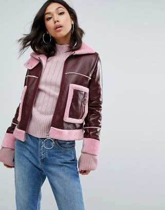 boohoo Faux Fur Trim Vinyl Aviator Jacket