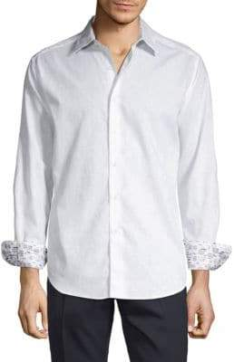 Robert Graham Long-Sleeve Contrast Button-Down Shirt