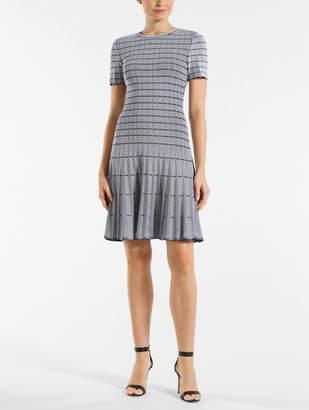 St. John Monochrome Ottoman Knit Fit & Flare Dress