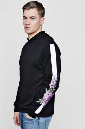 boohoo Over The Head Hoodie With Panel & Floral Embroidery