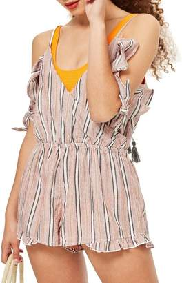 Topshop Stripe Cold Shoulder Playsuit