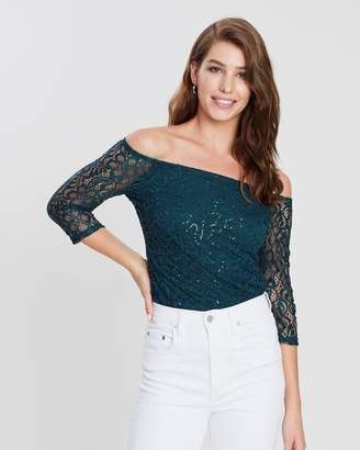 Dorothy Perkins Sequin Lace Bardot Top