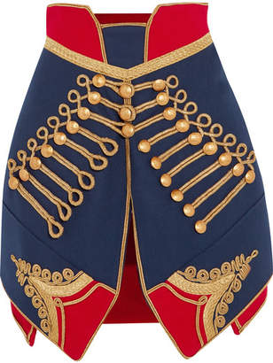 Burberry - Metallic-embroidered Wool-felt Mini Skirt - Navy