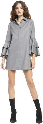 Alice + Olivia JEM TRUMPET SLEEVE SHIRT DRESS