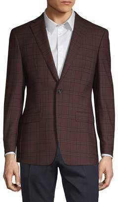 Calvin Klein Slim-Fit Plaid Wool Jacket