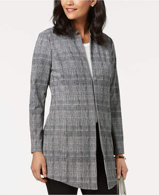 Alfani Petite Plaid Menswear A-Line Jacket
