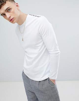 Aquascutum London Southport Check Shoulder Long Sleeve T-Shirt In White