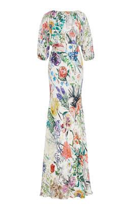 Lela Rose Floral-Print Crepe Gown Size: 16