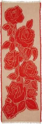 Comme des Garcons Rose Jacquard Wool Blend Scarf