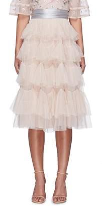 Needle & Thread Scalloped tiered tulle skirt