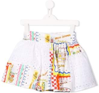 Simonetta flared panelled skirt
