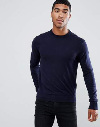Armani Exchange crew neck cashmere-mix chest logo sweater in navy