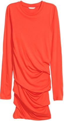 H&M Draped Jersey Dress - Orange