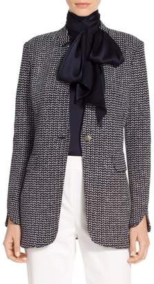 St. John Chevron Knit Notch Collar Jacket
