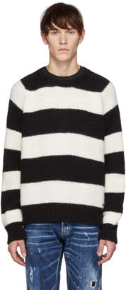 DSQUARED2 Black and White Striped Crewneck Sweater