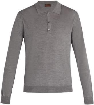 Altea Virgin wool-blend long-sleeved polo shirt