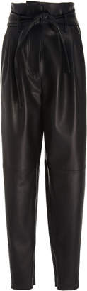 ADAM by Adam Lippes Paper Bag Waist Tapered Leather Pants