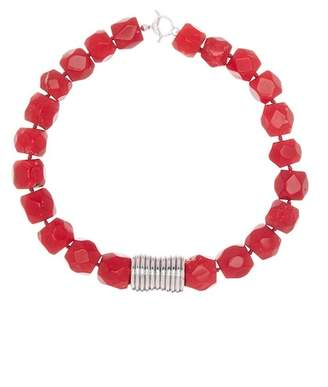 Simon Sebbag Beaded Red Coral Hammered Charm Necklace