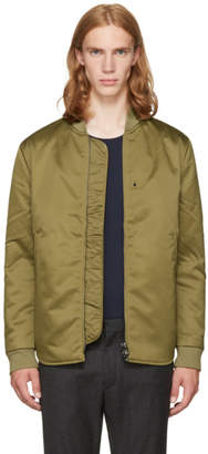 Acne Studios Green Mylon Matt Bomber Jacket