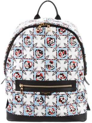 Emilio Pucci Floral Print Leather-Trimmed Backpack