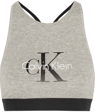 Calvin Klein Underwear - Retro Stretch-cotton Soft-cup Bra - Stone $35 thestylecure.com