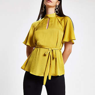 River Island Yellow tie front short sleeve blouse