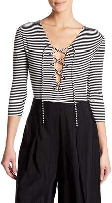 KENDALL + KYLIE Kendall & Kylie V-Neck Lace-Up Stripe Bodysuit