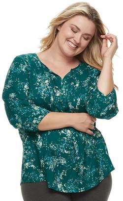 Sonoma Goods For Life Plus Size SONOMA Goods for Life Printed Pintuck Peasant Top