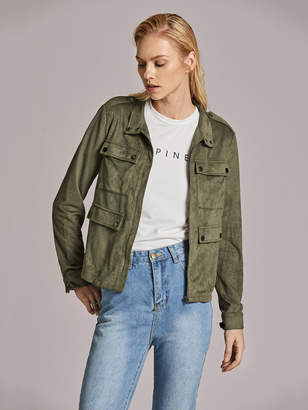 Shein Zipper Up Flap Pocket Detail Suede Jacket