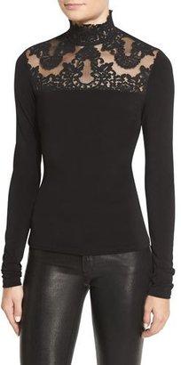 Alice + Olivia Jennine Lace-Yoke Long-Sleeve Top $295 thestylecure.com