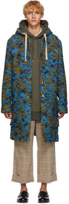 Acne Studios Blue and Green Wool Duffle Coat