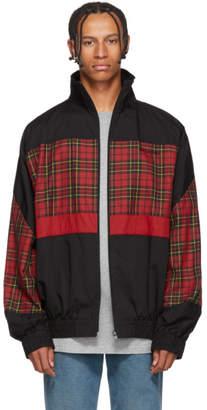 Balenciaga Black Tartan Combo Zip Jacket