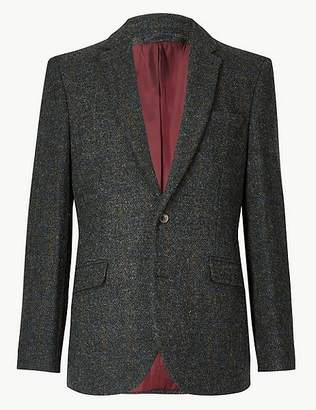 Marks and Spencer Pure Wool Navy Harris Tweed Tailored Jacket