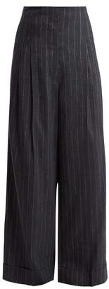 Brunello Cucinelli - High Rise Pinstriped Linen Blend Trousers - Womens - Grey Multi