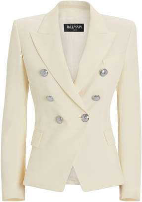 Balmain Classic Double-Breasted Ivory Blazer
