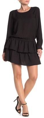 Scotch & Soda Patterned Drop Shoulder Layer Hem Dress